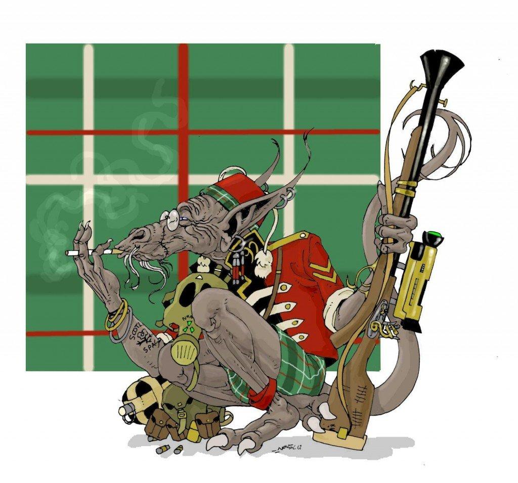 1887- Auxiliaire indigène de l'armée coloniale britannique des Lunes de Saturne (92ème Highlanders Space Infantery) dans 1887, uchronie en bande-dessinée b3621-1024x955