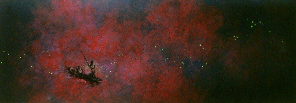 Lac Nokoué, crépuscule; lucioles dans divers HPIM1000-1024x358