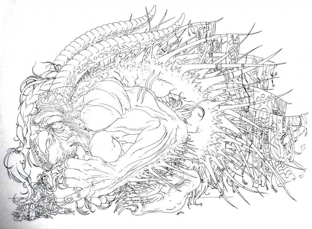 Sir Thomas Henry Huxley, explorateur & naturaliste de Sa Majesté, établissant, le 24 septembre 1853, un premier contact avec un Goonish cornu des neiges, représentant d'une peuplade autochtone d'Obéron, troisième lune habitée d'Uranus dans 1887, uchronie en bande-dessinée HPIM0059-1024x751