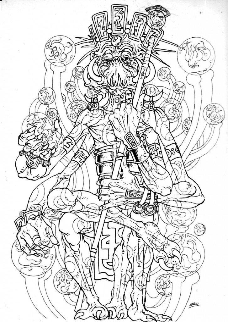Tecsu-Më VIII le Tacheté, dernier souverain du clan unifié des Polybrachiaux à symbiose carpée d'Adrasthée, quinzième Lune de Jupiter dans 1887, uchronie en bande-dessinée b532-727x1024