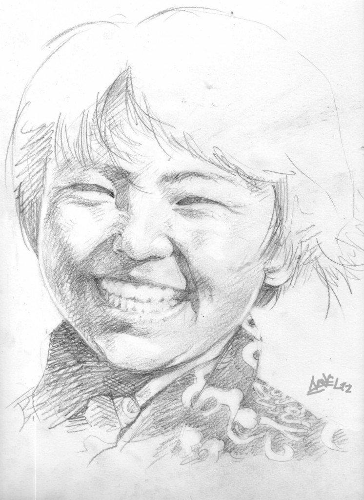 Jeune Bouthanaise (croquis) dans peuples d'Asie b5441-746x1024