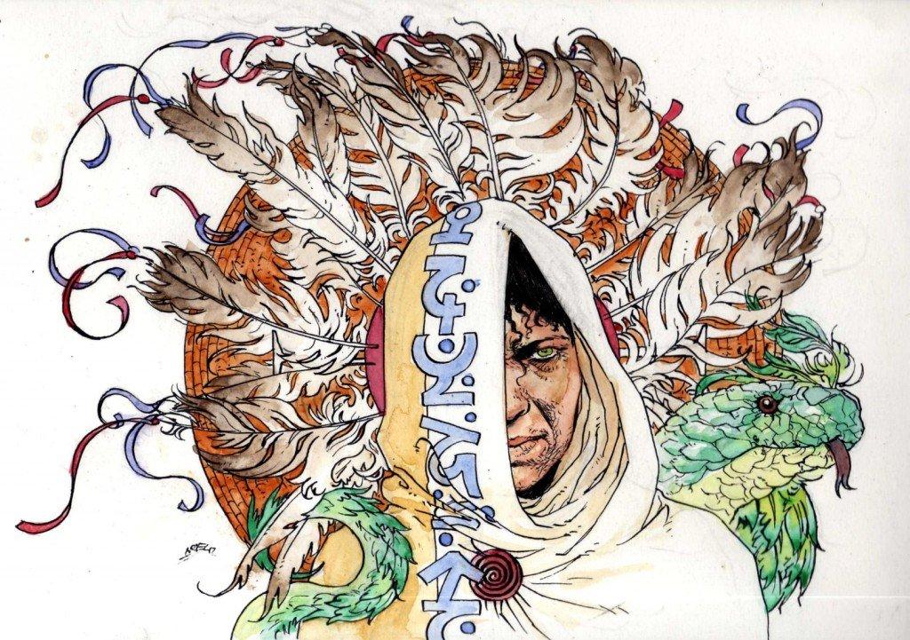 Oracle Kree pandoréenne du culte atlante du grand esprit du serpent a plumes dans 1887, uchronie en bande-dessinée b547-1024x721
