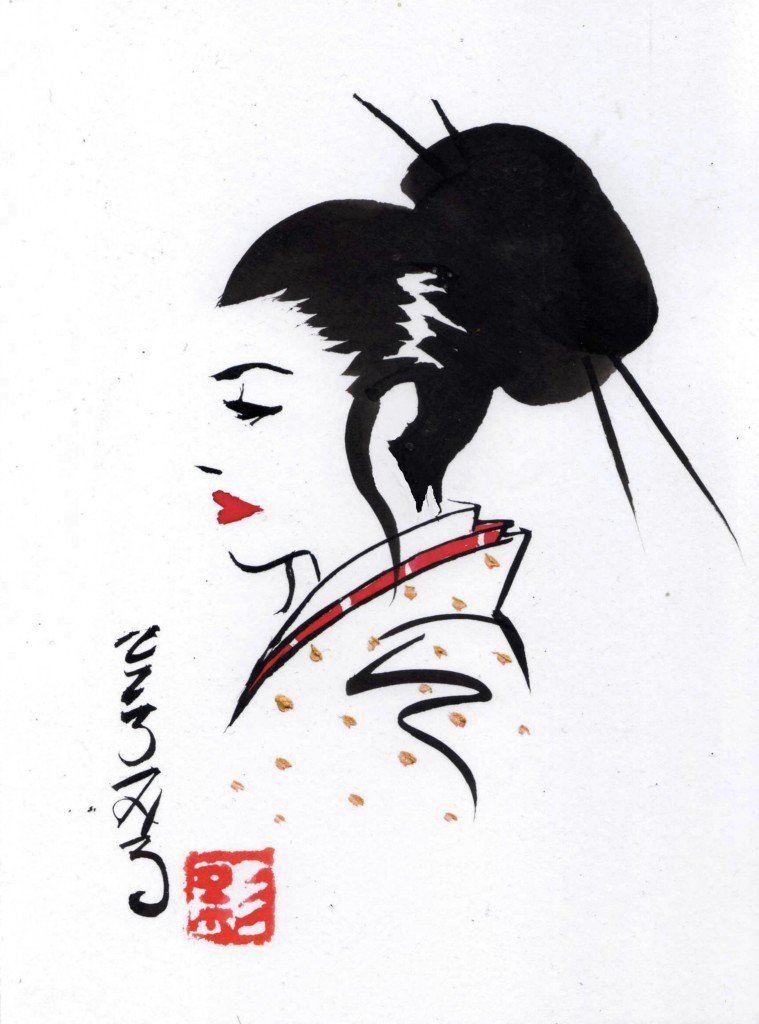 Geisha songeuse 2 dans Estampes & encres b555-759x1024
