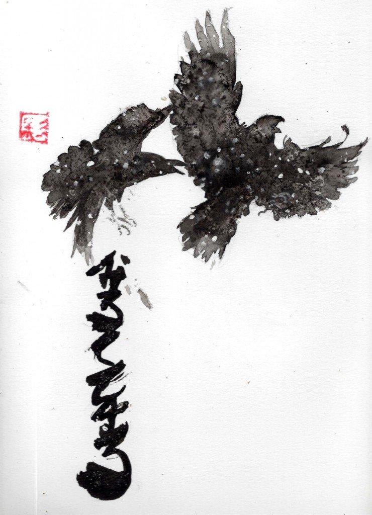 Corbeaux dans la neige dans animaux b568-740x1024