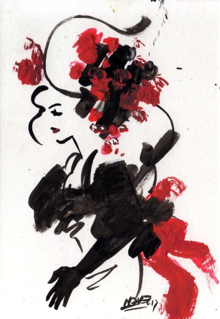 Femme au chapeau de fleurs dans divers b583-707x1024