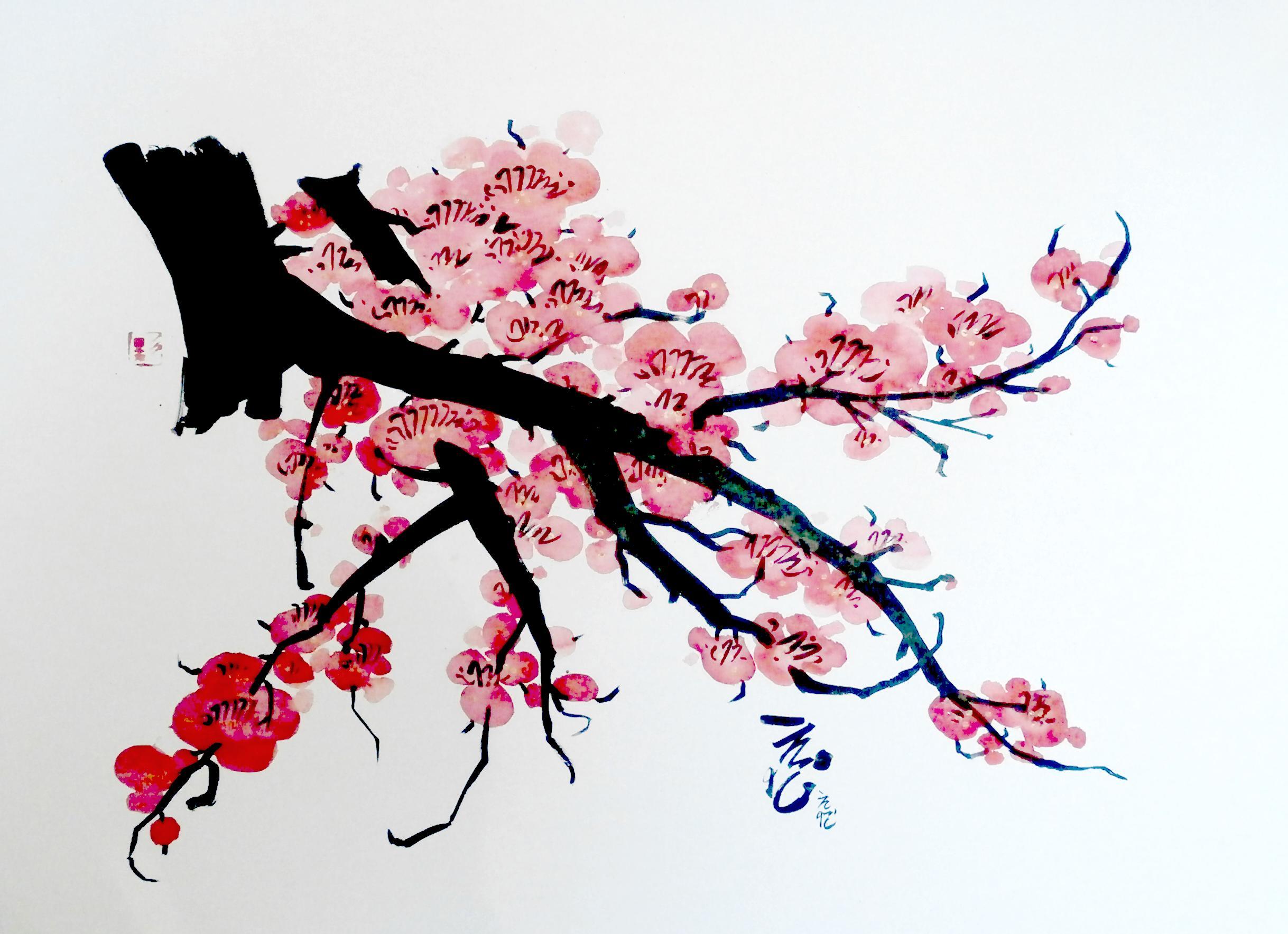 Fleurs japonaises dessin - Branche de cerisier japonais ...