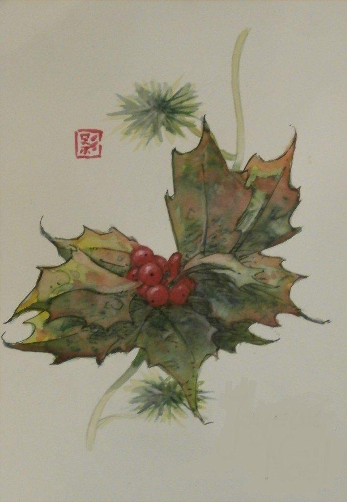 Branche de houx dans fleurs et arbres pb070092