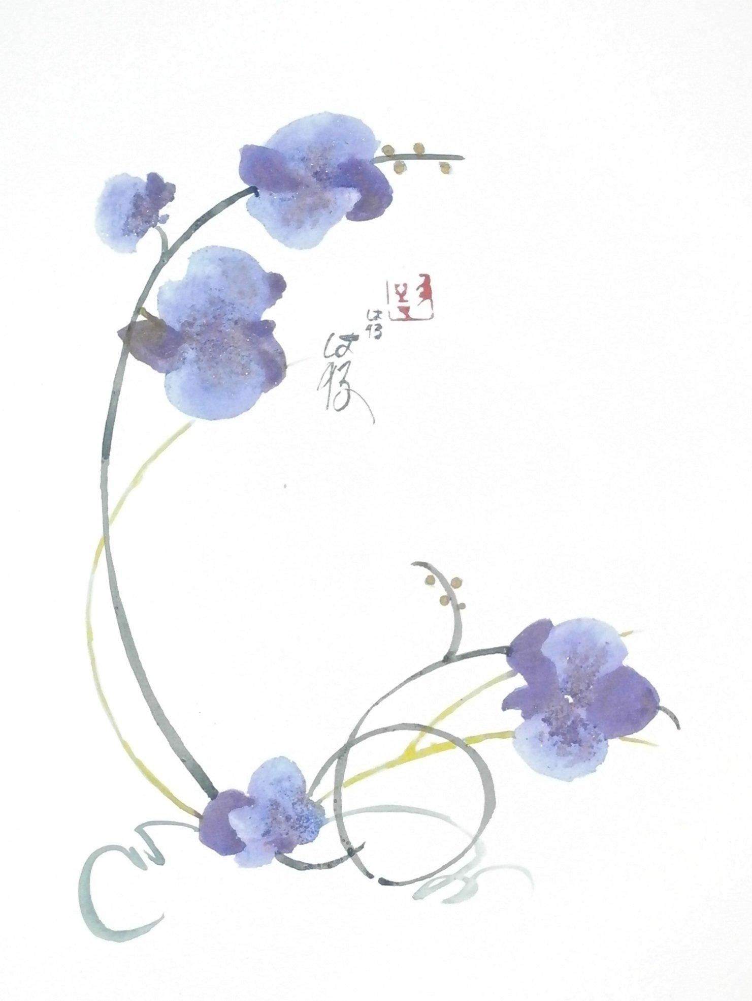 C novel dessins fleurs et arbres - Dessin d orchidee ...